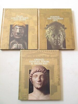 TIME LIFE BOOKS LOST CIVILIZATIONS LOT 3 HARDCOVER VOLUMES Greece Incas Pompeii