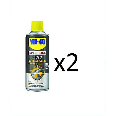 LOT 2 WD40 GRAISSE CHAÎNE MOTO CONDITIONS HUMIDES 400ml *NEUF*