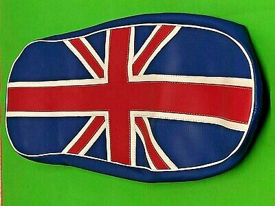 Standard Lambretta Union Jack Leather Seat Cover Flag Design Hand Stiched