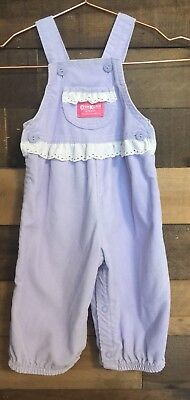 VTG OshKosh USA Lavender Corduroy Birthday Overalls Girls Sz 12 MTHS  RARE