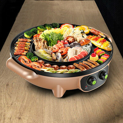 2 in 1 Barbecue Electric Grill Pan Plate Hot Pot Cook BBQ Teppanyaki 48.5cm Dia