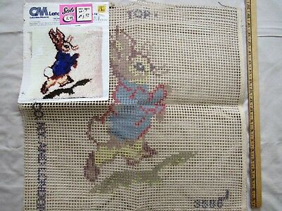 NOS Latch Hook Canvas PETER RABBIT Nursery Wall Hanging Pillow or Rug 1978 Bunny