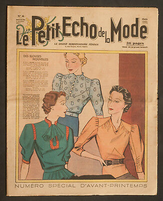 'echo De La Mode' French Vintage Newspaper Spring Fashion Issue 7 February 1937