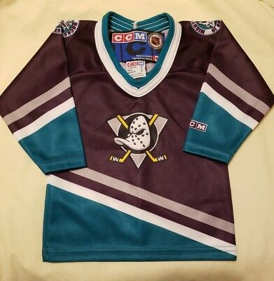 New WOT Vintage 90s NHL CCM Anaheim Mighty Ducks Hockey Toddler Jersey Size  Med ce52c8504
