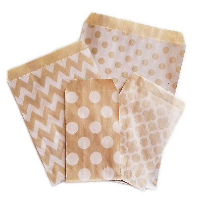 Kraft Paper Favor Bags - Different Sizes & Patterns - Cookie Treat Candy Buffet