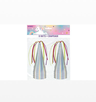 Iridescent Unicorn Party Hats - Pack of 8