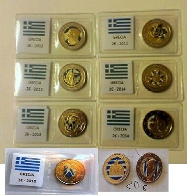 Grecia 2 Euro 2010-11-13-14-16  Commemmorativi  Smaltati Colorati A Mano