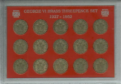 1937-1952 King George VI Brass Threepence 3d Type Coin Gift Set in Display Case
