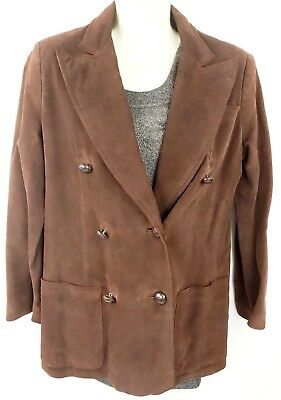 a43e6fd41 Authentic Vintage Gucci Brown Double Breasted Suede Leather Jacket EU 46 US  8