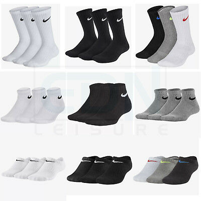 Junior Nike Socks 3 Pairs Boys Girls Kids Ankle Quarter Crew Sports Sizes UK 2-8