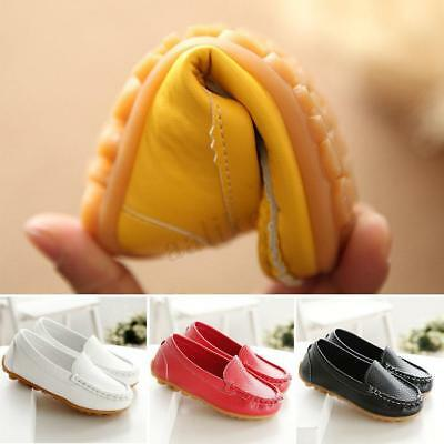 Boys Girls PU Leather Boat Soft Sneakers Kids Baby Oxford Flat Shoes Slip On