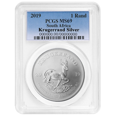2019 South Africa Silver Krugerrand 1oz PCGS MS69 Blue Label