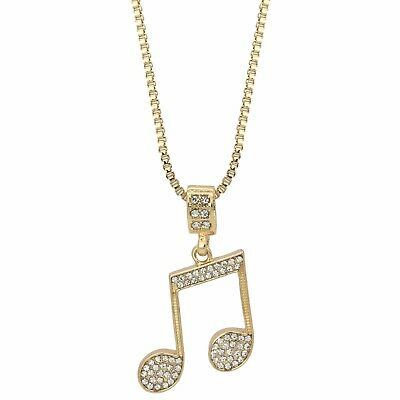 """Men's 14k Gold Plated Music Note Hip Hop Pendant 24"""" Inches Box Necklace Chain"""