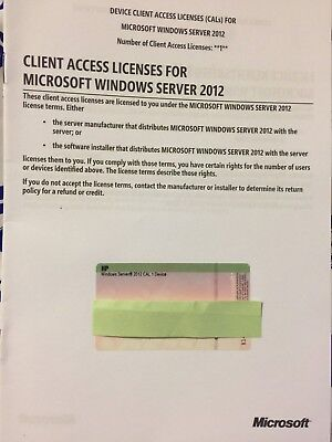 HP 5 pack Client Access License for Microsoft Windows Server 2012