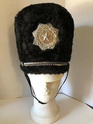 "Vintage Marching Band Hat Black Sugarland Texas Medium 7 1//8/""  w Plume Feather"