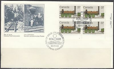 Canada Scott 1001 LR Pl Blk FDC - 1983 Canadian Locomotive Issue