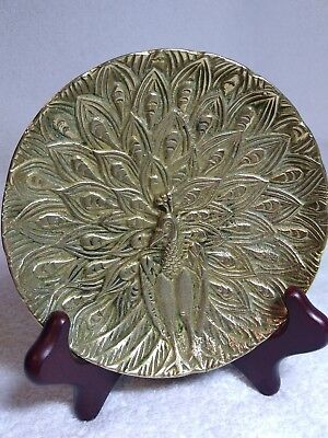 """Antique Middle East  Cairo Ware Islamic Brass Peacock Dish Trinket  Bowl 5"""" Diam"""
