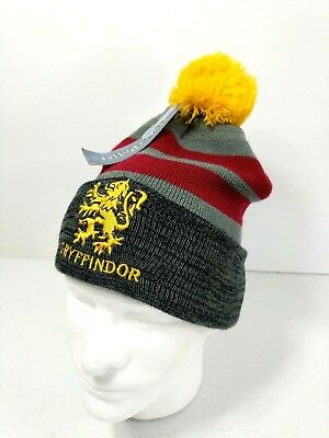 dd25c43715f Harry Potter GRYFFINDOR Winter Hat Beanie Cap Pom Adult OSFM Gray Yellow Ski  New