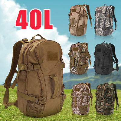 40L Waterproof Hiking Camping Bag Military Tactical Rucksacks Backpack