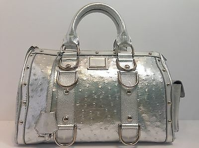 7d75ff448386 Authentic Versace Handbag Satchel Madonna Doctor Silver Ostrich Leather Rare