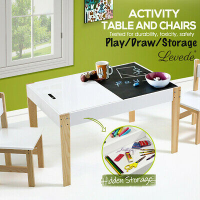 Levede Kids Table and Chairs Set Study Activity Chalkboard Children Furniture
