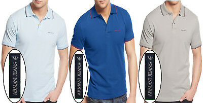 e5e3bb490b34 ARMANI JEANS MEN Micro Eagle-Print Short Sleeve Polo Shirts NEW NWT ...