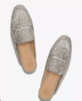 584f30b09ff TORY BURCH AMELIA Backless Loafer Glitter Silver Size 6 NEW IN BOX ...