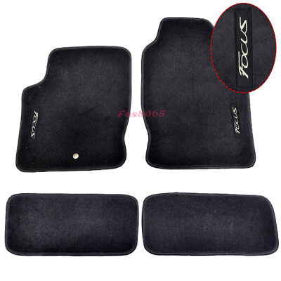 Fits 00-07 Ford Focus Black Nylon Floor Mats Carpets w/ Embroidery