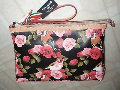 NWT Cavalcanti Italy Large Col Black Rose 530 Leather Cosmetic Wristlet Bag 4def1ec3ced50