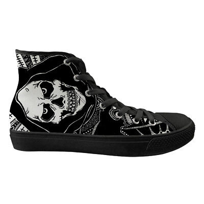 Skull Womens Casual Shoes Black Soles Over Ankle High Top Canvas Sneakers Girls