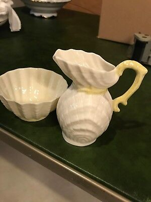 Belleek Double Shell Pattern Sugar And Creamer