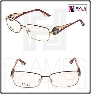034218b16c CHRISTIAN DIOR VOLUTE CRYSTAL CD3754 Gold Red Square 55mm RX Optical  Eyeglasses