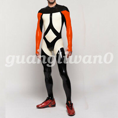 Latex catsuit 100% Rubber Men Handsome Long Sleeves Sport Racing suits S-XXL