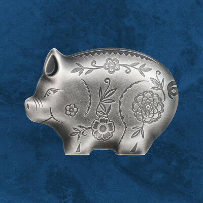 Mongolia - Jolly Silver Pig - 1000 Togrog 2019 Antique Finish - Silver - Pig