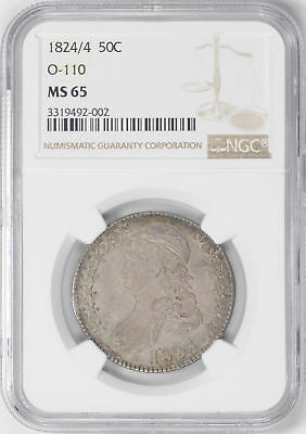 1824/4 Capped Bust 50C Ngc Ms 65