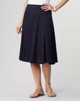 0f97fa7dfa $80 Coldwater Creek Navy Blue Jersey Knit A Line Swing Travel Skirt Small 8