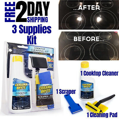 Electric Stove Cleaning Supplies Kitchen Cooktop Glass Top Burner Cleaner Kit