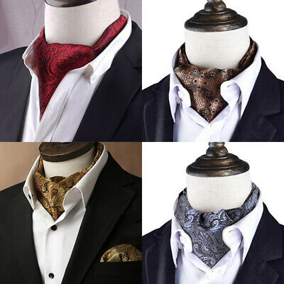 Fashion Men Silk Cravat Scarves Paisley Ascot Wedding Party Self-tied Ties cby