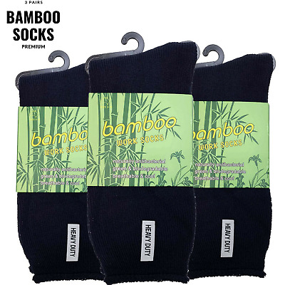 3 Pairs PREMIUM BAMBOO SOCKS Men's Heavy Duty Thick Work Socks Cushion BULK