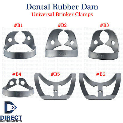 Dental Rubber Dam Clamps Brinker Tissue Retractors Universal Bicuspids Premolar