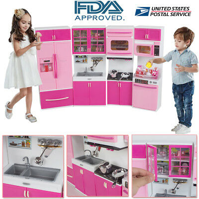 Kitchen Playset For Girls Pretend Play Refrigerator Toy Cooking Set