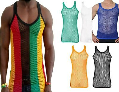 f9d07b3a6dc352 T-shirts Fitted Rasta Stripe Cotton String Vest Mesh Fishnet Muscle Top  Reggae Carnival
