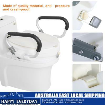 10cm Elevated Raised Toilet Seat With Lid Removable Padded Arms Disability Aid