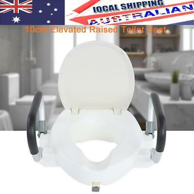 10cm Medical Raised Toilet Seat With Lid Removable Padded Arms Disability Aid AU