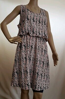f296a1039d Pixley Stitch Fix Women s Sz Large Pink Black Abstract Chevron Sleeveless  Dress