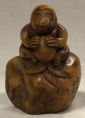 Carved Natural Shoushan Stone Monkey Zodiac Seal with Inscribed Artist Mark