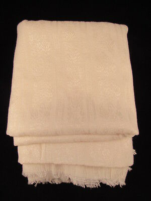 """Large Table Linen 3'5"""" X 7.5' Rectangular Ivory Tablecloth With Floral Design"""