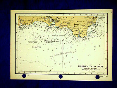 """739, DARTMOUTH to LOOE,1943 Admiralty Map Chart, 9 x 6.5"""" Eddystone Lighthouse"""