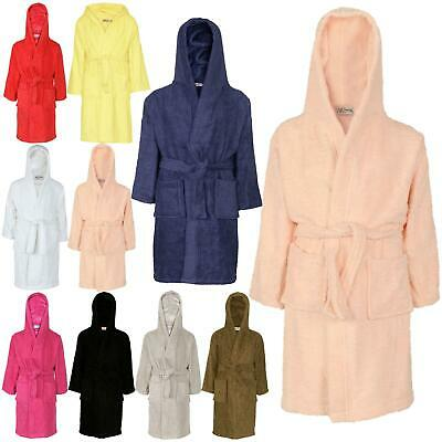 Kids Girls Boys 100% Cotton Soft Terry Hooded Bathrobe Luxury Dressing Gown 3-13