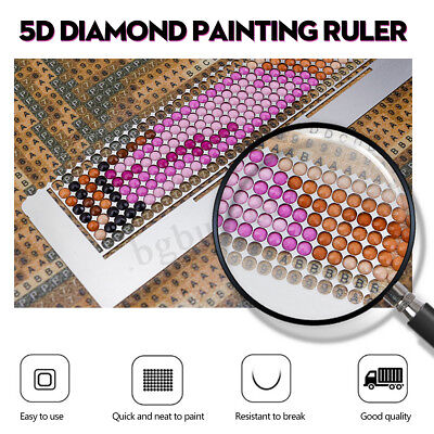 5D Diamond Painting Ruler Stainless Steel Tool Blank Grids Round Full Drill Kit